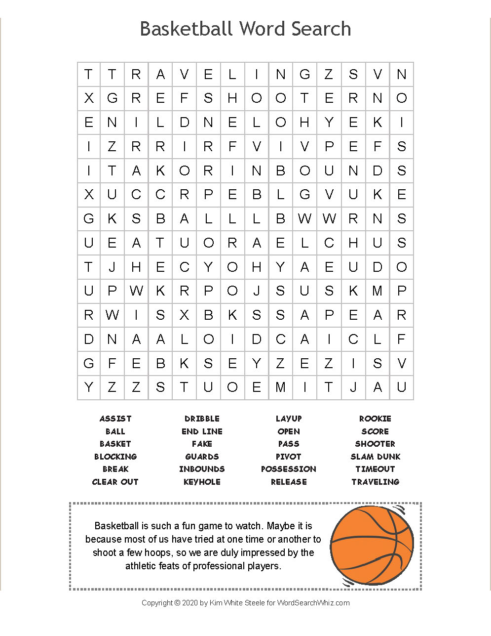 Basketball Word Search